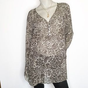 Chico's Size 2 Sheer V Neck Henley Long Sleeve Top